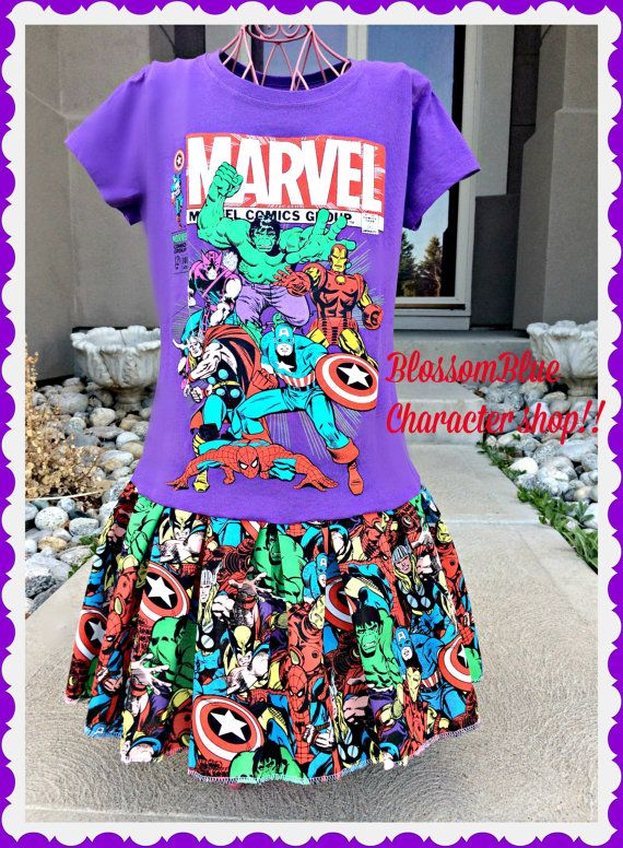 marvel dress Spiderman hulk captan america by BlossomBlueBoutique