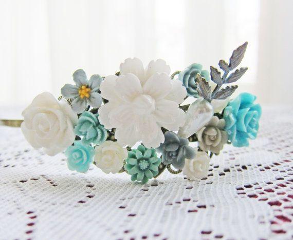 Bridal Headband Headpiece for Bride Seafoam Blue by Jewelsalem