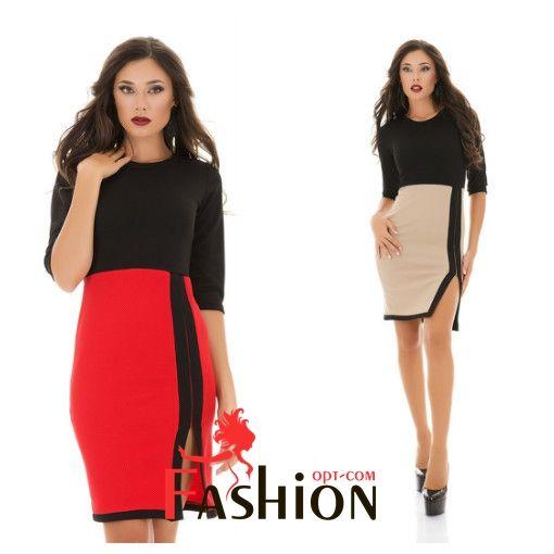 🌹7️⃣4️⃣9️⃣руб🌹 Платье с разрезом на юбке №3053 Размер: S; M; L Производитель: Classic collection Ткань: Кукуруза Цвета: черно-белый, красный, бежевый