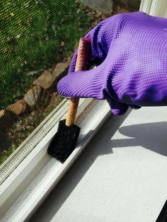 Cleaning Window Tracks Is Easy With A Pinesol Solution And Sponge Brush.