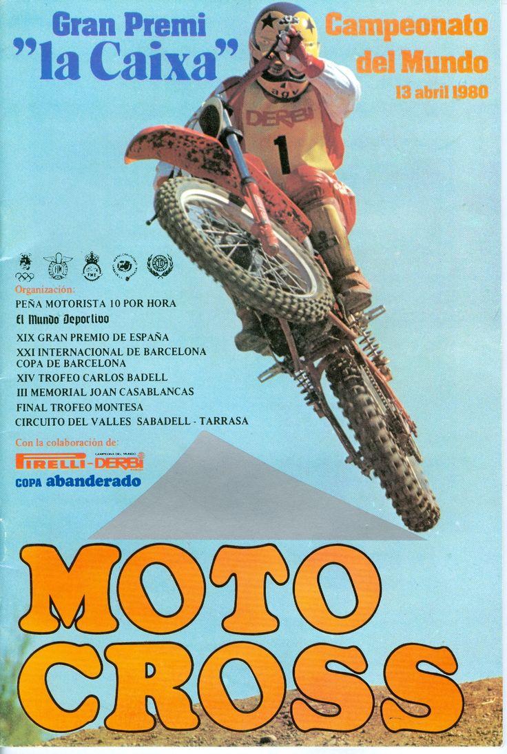"""Cartelon 1980 Gran Premio """"La Caixa"""" Campeonato del Mundo con Derbi RC 125 con Toni Elias en portada"""