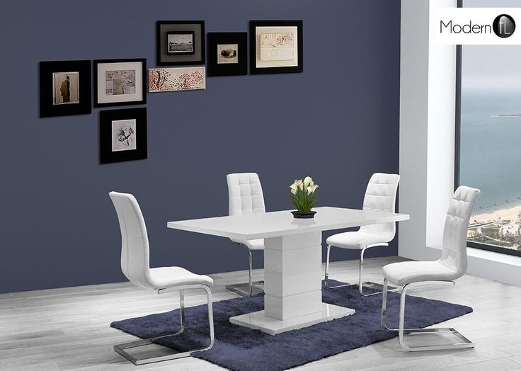 CONTEMPORARY WHITE GLOSS DINING TABLE WITH 4 WHITE CHAIRS, SEATS UP TO 6