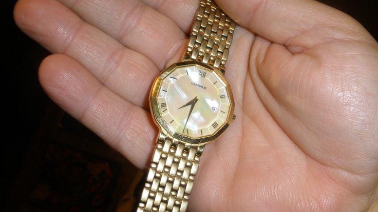 seiko lassale mens dress watch new batt fit 7 1/2 in wrist gold color pearl dial
