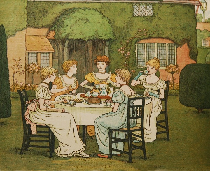 """An illustration from Kate Greenaway's book """"Marigold Garden,"""" 1885"""