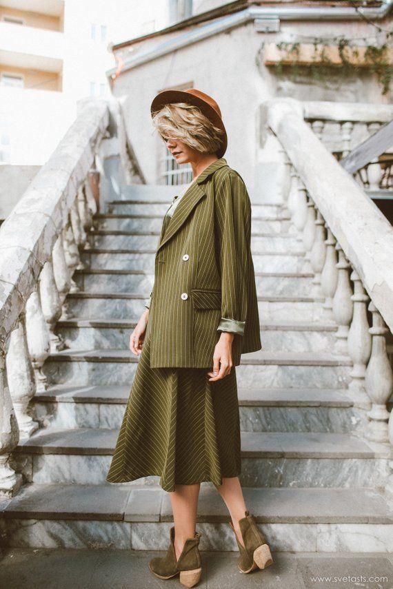 Skirt Suit Women S Suit Dark Green Suit Midi Skirt Oversized