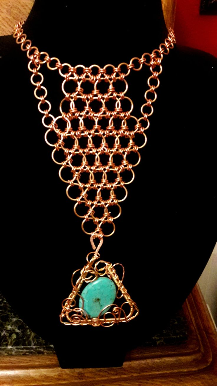 Turquoise In Freestyle Wrap Chainmail by ExceptionalDesigns13 on Etsy