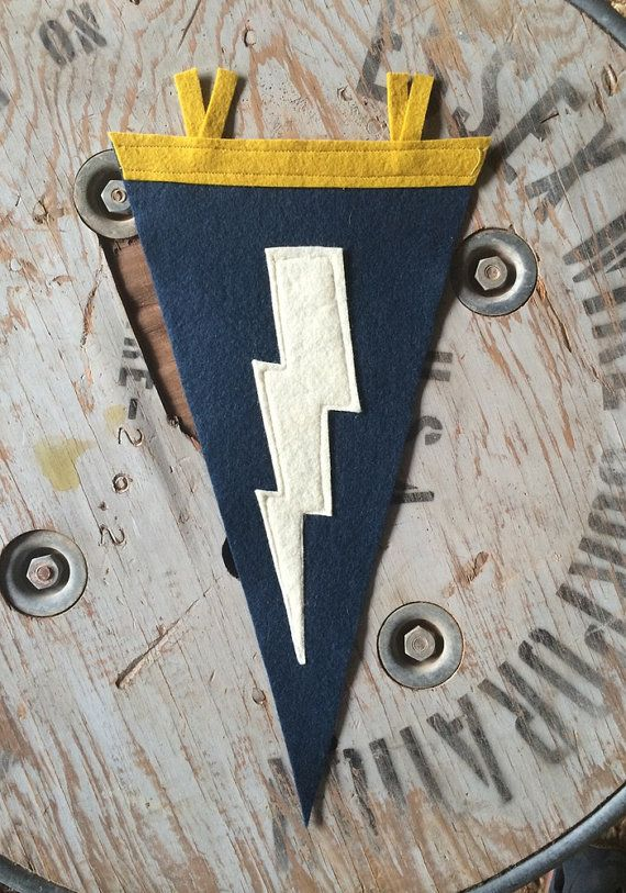 Lightning Bolt Wool Felt Pennant, Navy, Wall Hanging, Room Decor, Banner, Flag