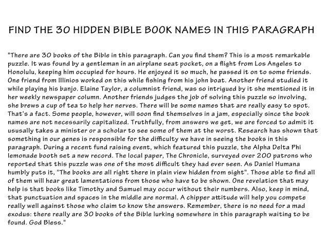DIY Books of the Bible Puzzle