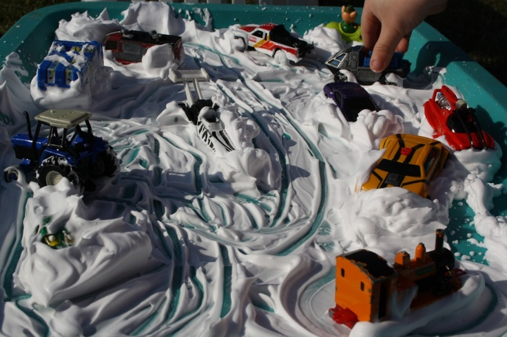 "shaving cream ""car-wash"": messy, fun sensory play, keeps the kids entertained for ages."