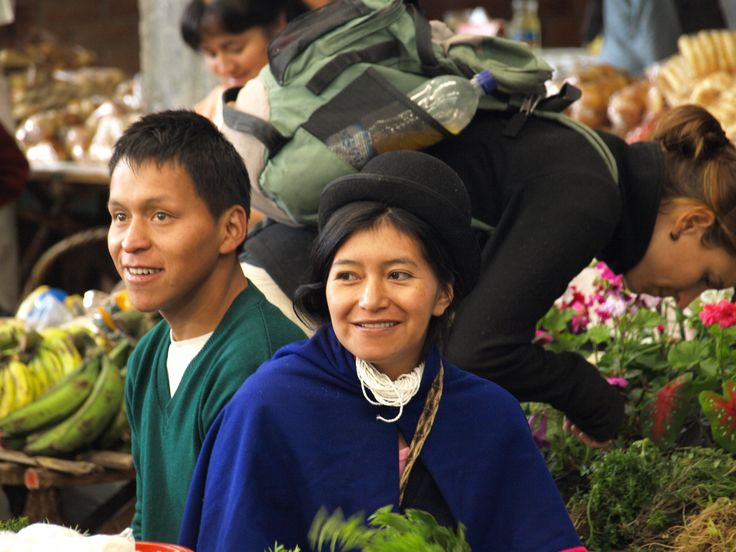 Happy indigenous couple in the market.