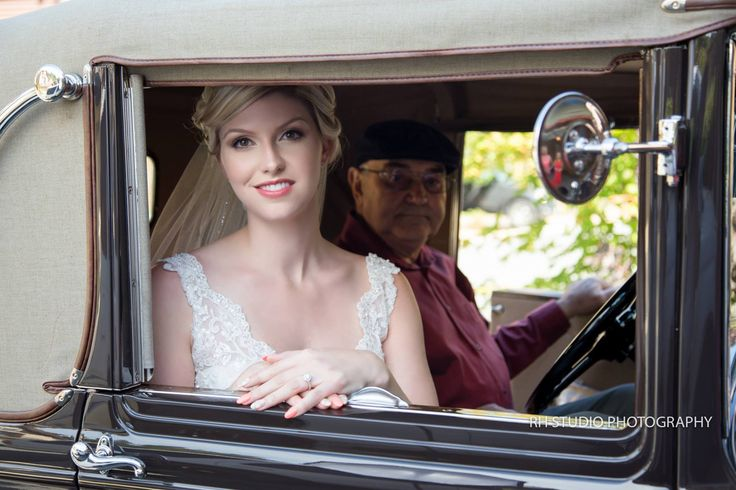 A Bride and her grandpa in a Model A!