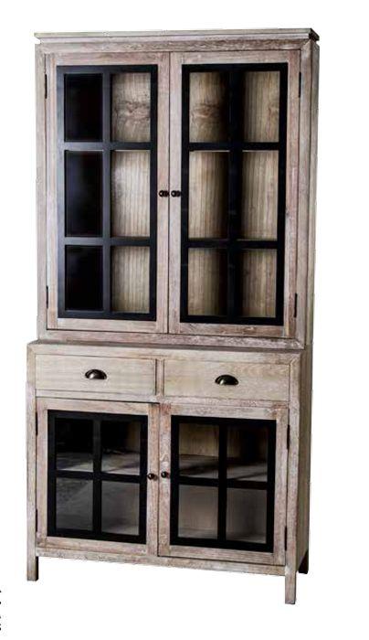 vitrina 4 puertas de cristal con 2 cajones en color decapado, muebles coloniales online en: http://www.rusticocolonial.es/