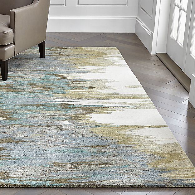 Birch Cyan Wool Blend Abstract Rug Crate And Barrel Abstract Rug Modern Carpets Design Rugs On Carpet