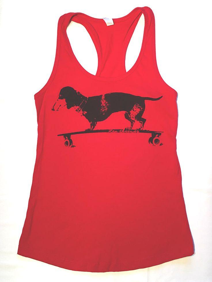 SALE Womens DACHSHUND on Longboard - Racerback Tank Top s m l xl xx Red by ZenThreads on Etsy https://www.etsy.com/listing/468547663/sale-womens-dachshund-on-longboard