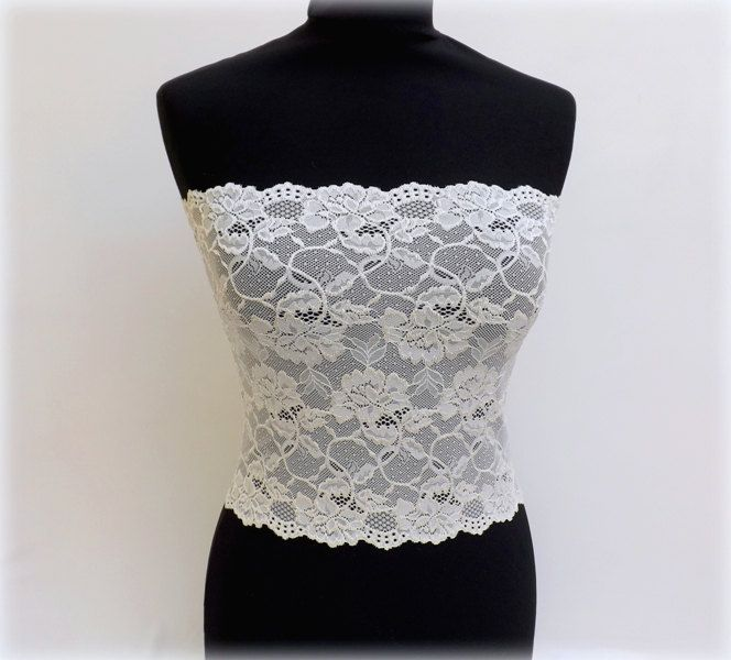 Ivory elastic floral lace top. Lace strapless. Ivory tube top. Bridal lingerie. Offwhite bandeau top. Ivory lace lingerie. Lace bandeau top. by MissLaceWedding on Etsy