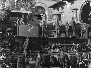Jonathan Wilson Close (standing in the in cab) presumably at Eveleigh Workshops around 1900. He ended up Outdoor Superintendent of the Metropolitan District of the NSW Railways. Supplied: Ron and Judy Arnott