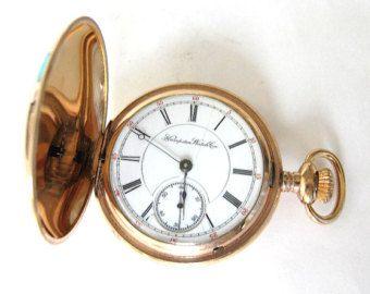 Antiguo 10K oro llena el reloj de bolsillo HAMPDEN, S18, 11 rubíes, caso de Hunter, Sev tenía y correr!