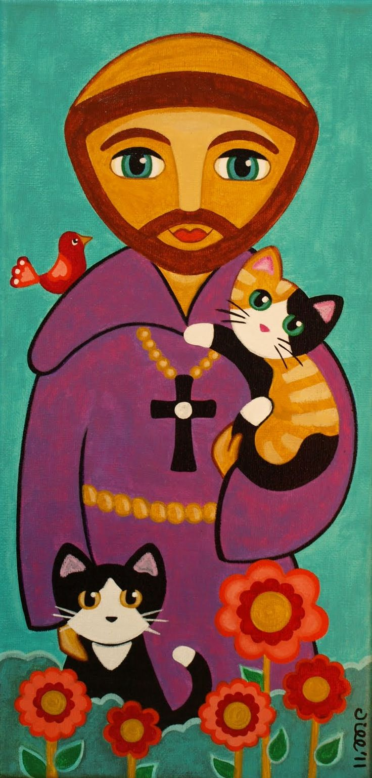 This image of St. Francis with kittens inspires me - I love animals.