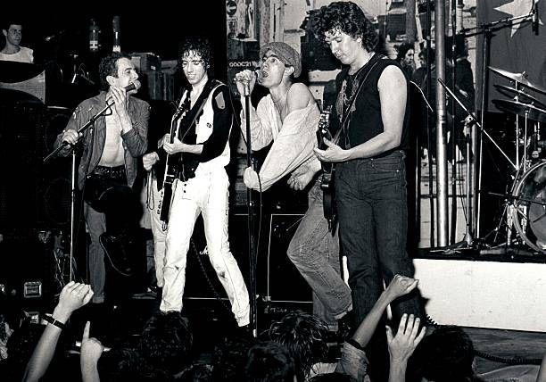 Photo of Clash Sham 69 Pursey Jimmy Jones Steve Sex Pistols LR Joe Strummer Mick Jones Jimmy Pursey Steve Jones playing