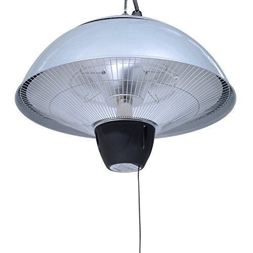 Outsunny 1.5KW Garden Electric Patio Heater Hanging Lamp Aluminum Outdoor  Ceiling Mounted Heat Warmer