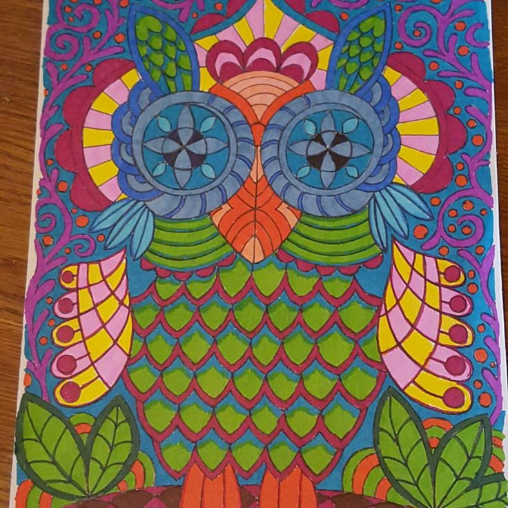 Mielikuvia vol 1 colouring book.  Coloured by @adult.coloring   #owls  #adultcoloring  #päivivesala_art #sharpies