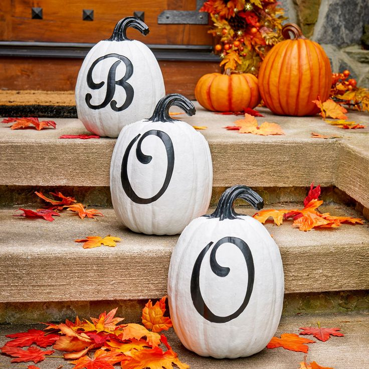three little letters create one slightly spooky seasonal message add decorative halloween pumpkins to your fall home decorhalloween