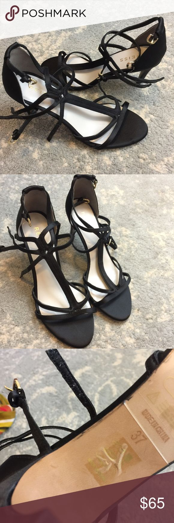 Reiss Black Strappy Buckle Open Toe Heels Reiss Heels gorgeous and new like- no tags never worn outside and size 7. 3 straps and and are ideal for a special occasion and heel isn't super high which is nice! Reiss Shoes