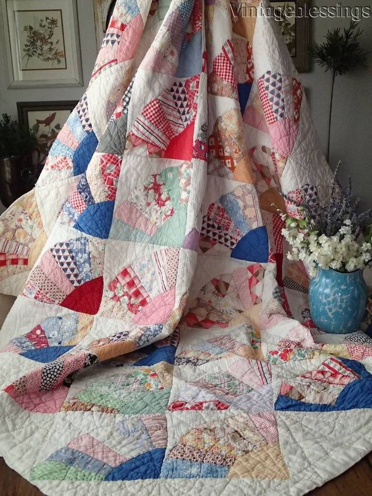 "Beautiful! VINTAGE 30s Fans QUILT 80x60"" Blue + Feedsacks"