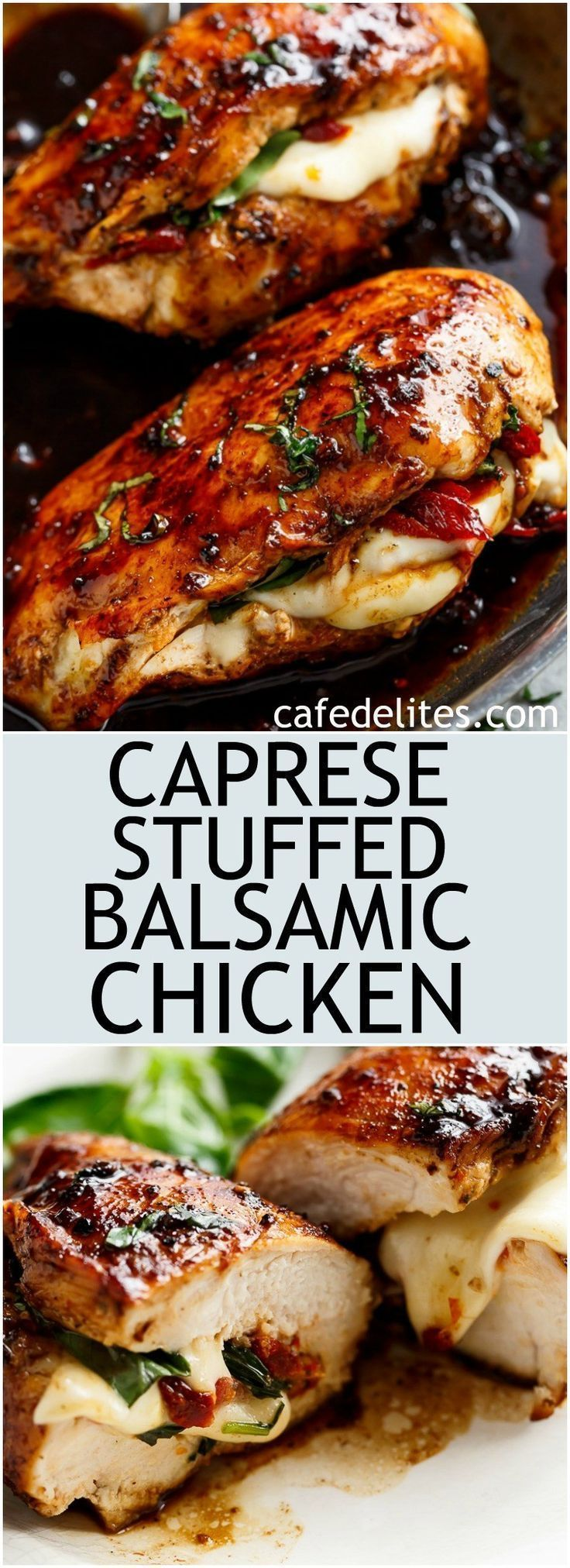 Caprese Stuffed Balsamic Chicken is a twist on Caprese, filled with both fresh AND Sun Dried Tomatoes for a flavour packed chicken! | https://cafedelites.com?utm_content=buffer9ac1f&utm_medium=social&utm_source=pinterest.com&utm_campaign=buffer