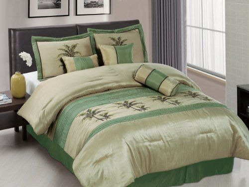 Chezmoi Collection 7 Piece Sage Green Embroidery Palm Tree