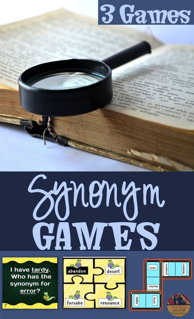 Don't just use a thesaurus to learn synonyms. Games make it fun.  There are 3 games included in this paid resource:  I Have, Who Has Game, Puzzle Pieces Game, and Synonym Dominoes.  Three levels of words to challenge students from grades 2 - 5.  Come check it out!
