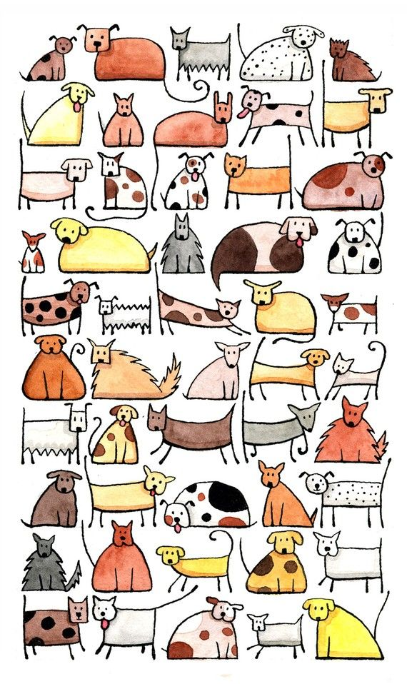 50 playful, friendly, cheerful dogs to brighten your world.  This is a giclee art print reproduced with archival quality inks on an A4 sized piece of acid-free paper.  The image is approximately 140mm x 240mm on an A4 sheet (300mm high x 210mm wide).  The print has been signed by the artist, and titled, both in pencil, on the reverse side of the print. It will be packaged in a clear cellophane sleeve, and mailed in a sturdy cardboard envelope to prevent damage in transit. Proudly painted…