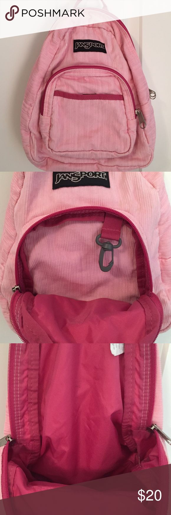 Mini Jansport Backpack Mini light and dark pink Jansport backpack! Great for hikes and outdoor activities. Small enough to carry big enough to hold your things! Jansport Bags Backpacks