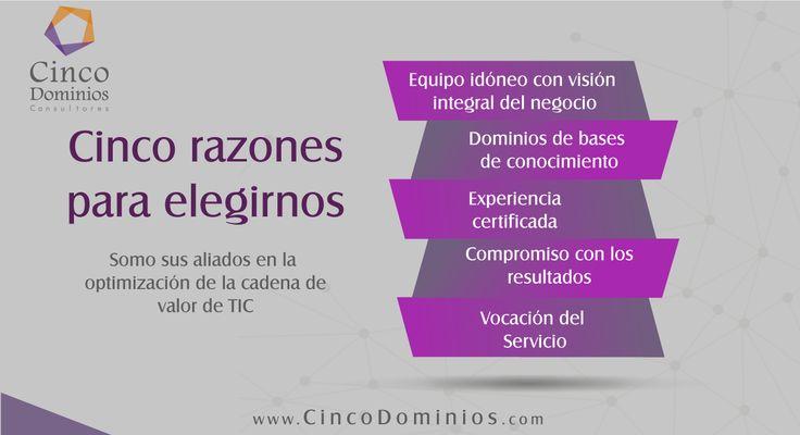 Conozca las 5 razones por la cuales somos sus mejores aliados en la optimización de la cadena de valor de TIC. Visítenos: www.CincoDominios.com  #ServiciosdeTI #ConsultoríadeTI #CadenadeValordeTIC