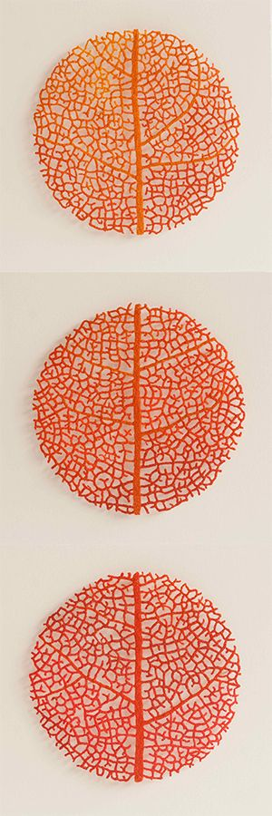Leaf colour studies Embroidery thread, pins and glass rods on paper by Meredith Woolnough