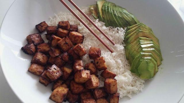 La Fée Stéphanie: Tofu mariné et grillé, riz basmati et avocat en tranches