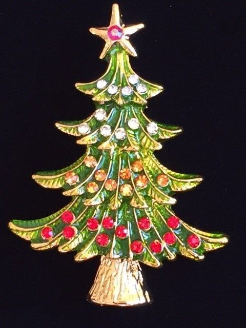 """AB GOLD GREEN RED RHINESTONE LAYERED CHRISTMAS TREE PIN BROOCH JEWELRY 2"""" LRG 3D #Unbranded #PinBroochJewelry"""