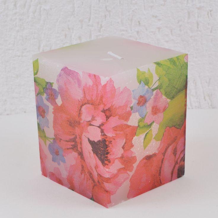 Vela Quadrada Branca Decoupage Floral Grande SPRING Vermelho