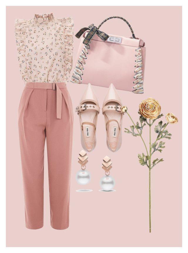 """Elegant pink"" by chloeathome on Polyvore featuring Topshop, Fendi, Miu Miu and Escalier"