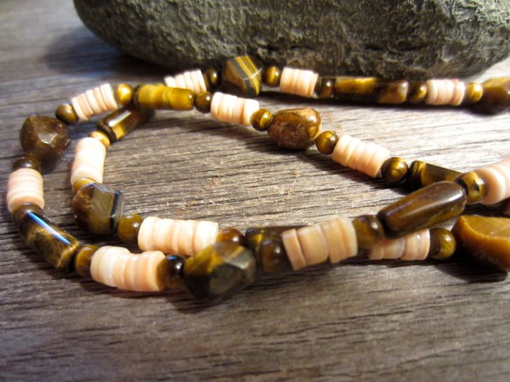 Mens Golden Brown Tiger Eye Necklace, All Shapes Tiger Eye Gemstone Necklace, Bones Tiger's Eye & Sterling Silver, Rocker Boho Hipster by TruffleMints on Etsy