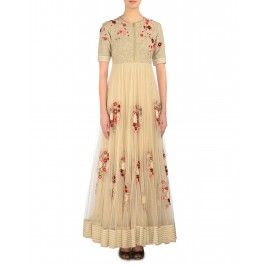 Floral Embroidered Vanilla Cream Long Dress