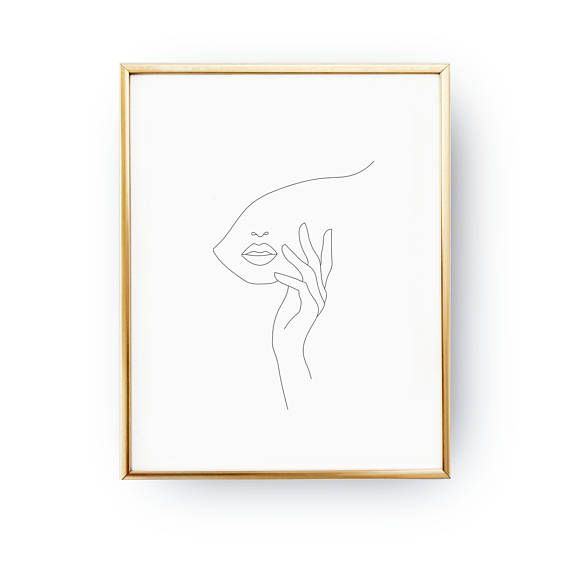 Hand On Face, Abstract Female Face, Minimal Art, Simple Fashion, Woman Art, Beauty Art, Black And White, Sketch Wall Art, Line Drawing Print – Ronja Meyer