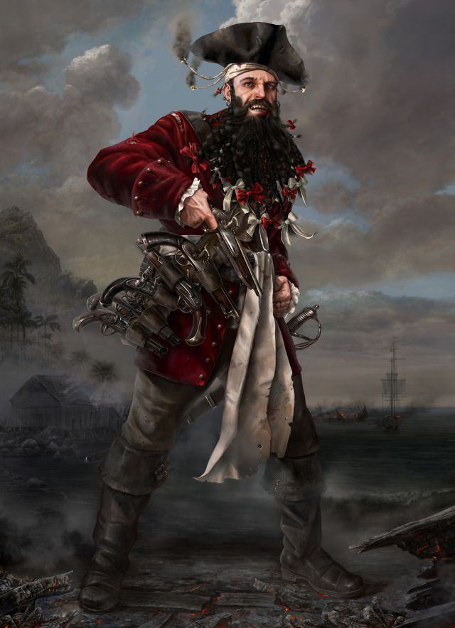 Famous Pirates | ... Teach (Blackbeard) Picture (2d, portrait, pirate, fantasy, guns