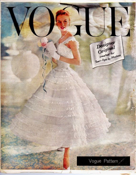 1950s Wedding Dress Pattern with Petticoat Vintage Vogue Chantilly Wedding Dress or Prom Dress Size 14 Bust 34 UNUSED FF