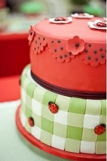 ladybug cake... not sure if i should do her party in like a picnic sot of laddy bug theme or just go with mostly red black and white polka dots ect..??