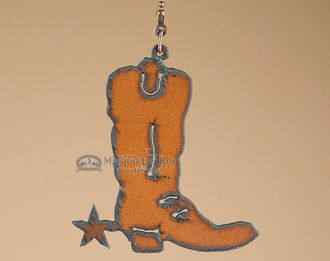 Cowboy Style Metal Art Ceiling Fan Chain Pull -Boot (cp14)