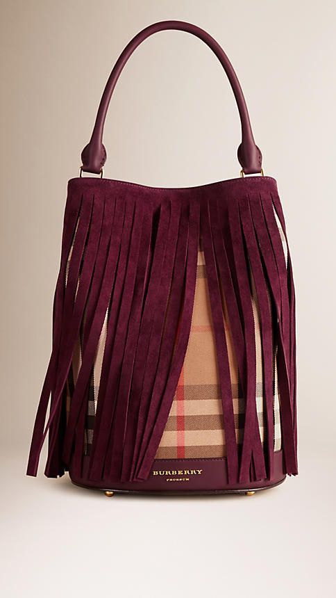 Elderberry The Bucket Bag in House Check And Fringing - Image 1