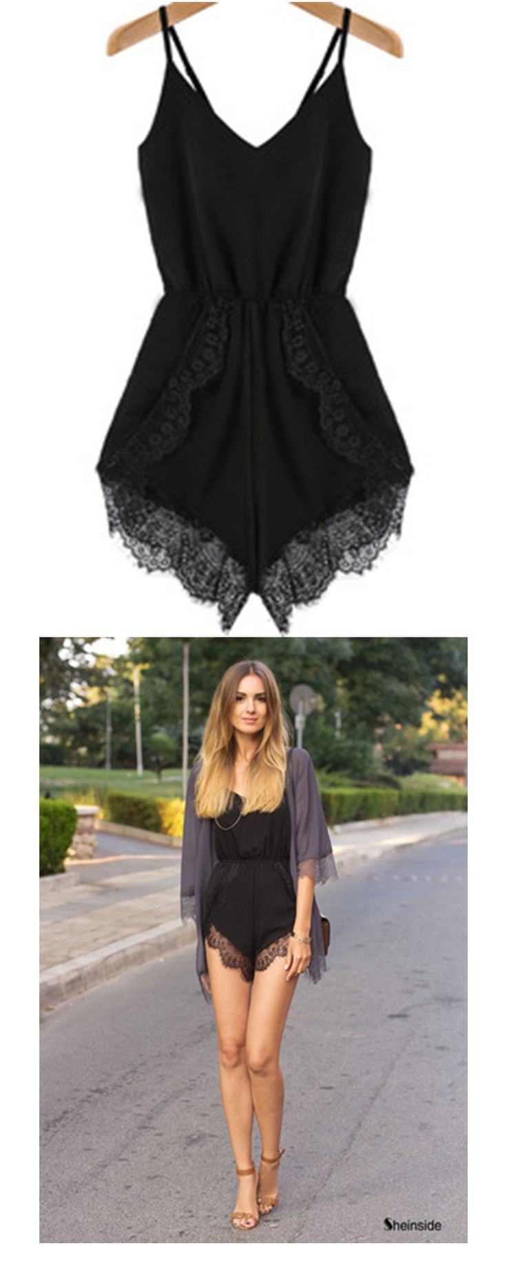 Jumpsuits Almost a must for women .Black jumpsuits or white jumpsuits can be a good easy outfit ! If you like lace rompers, short sexy jumpsuit is a nice choice for hot summer ! Black Spaghetti Strap Lace Chiffon Jumpsuit at romwe .com.