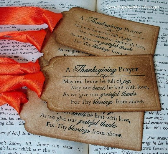 Thanksgiving Prayer- Gift Tags/Labels SET of 25-Ribbon Choices Available
