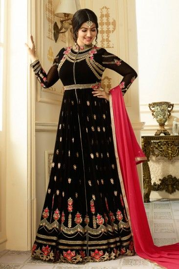 Bollywood Ayesha Takia Black Georgette Anarkali Churidar Suit With Dupatta - DMV15379  #eidDresses #eid2018 #eid #eidmubarak